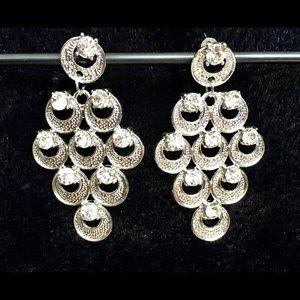 """2"""" diamond rhinestone silver chandelier earrings"""